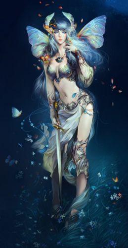 fantasy girl beautiful flower dress animal butterfly beauty wallpaper