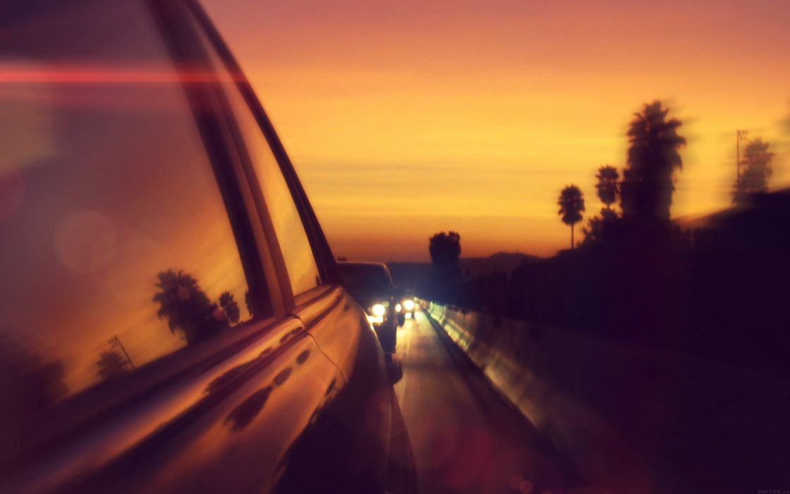 drive way sunset city highway car flare wallpaper