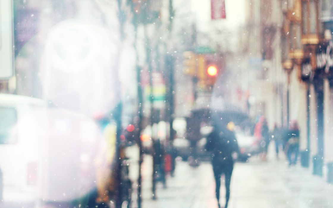 snow street bokeh flare winter walk city day nature wallpaper