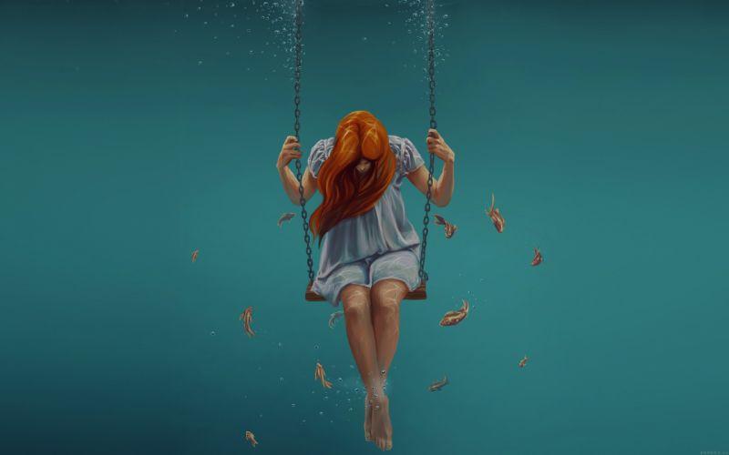swing art painting girl dark dress beauty fish wallpaper