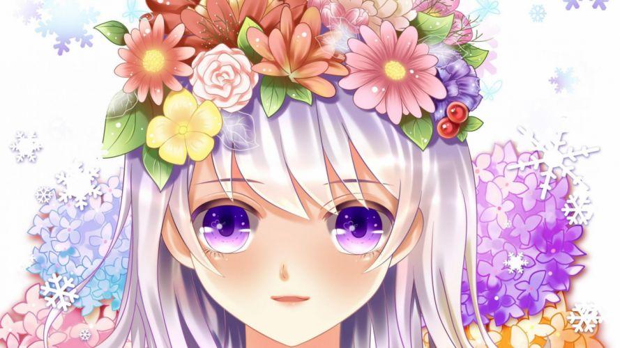chica manga anime pelo flores wallpaper
