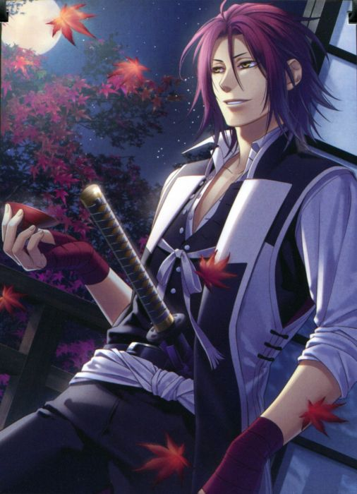 Hakuouki Shinsengumi Kitan Series anime characters cool leaves boy wallpaper