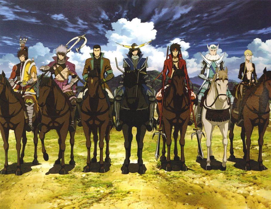 Sengoku Basara Series anime group horses wallpaper