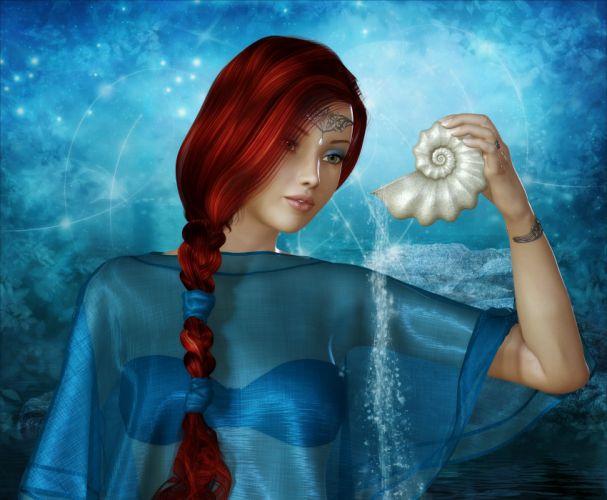 3D rendering arts face redhead seashell women girls wallpaper