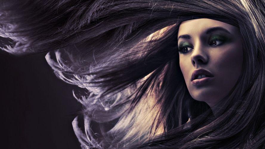 Face wind hair makeup women girls blonde wallpaper