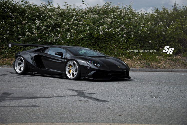 2015 Liberty Walk Lamborghini Aventador black cars supercars modified wallpaper