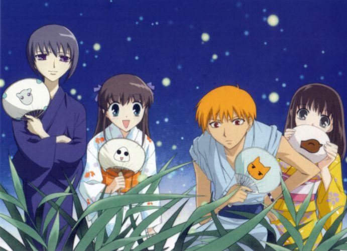 anime series Fruits Basket girl characters kimono wallpaper