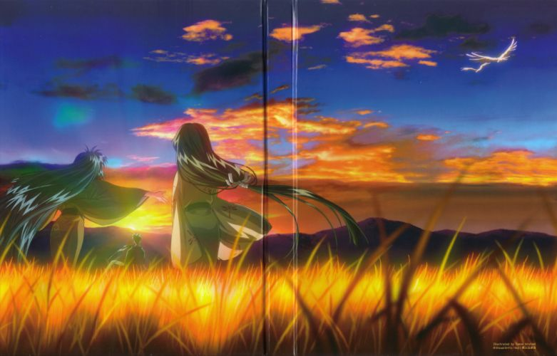 anime series air characters girl beautiful sunset friend wallpaper
