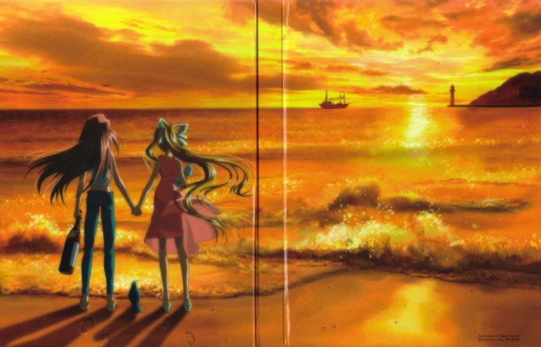 anime series air characters girl beautiful sunset friend sea wallpaper
