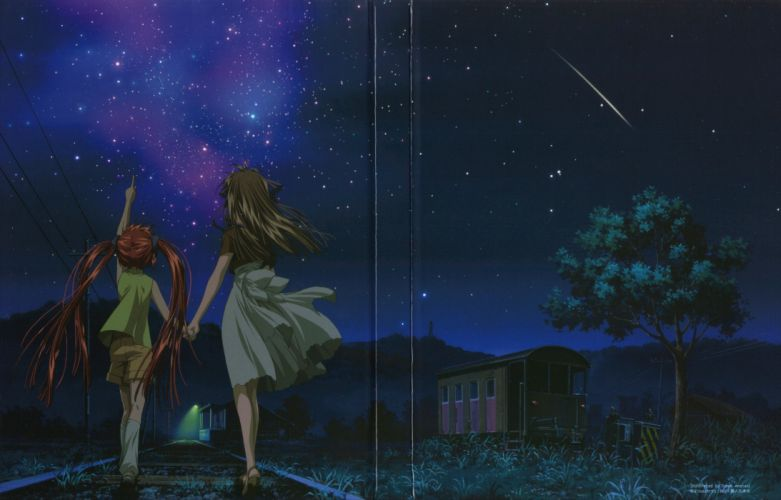 anime series air characters girl beautiful sky stars friend wallpaper
