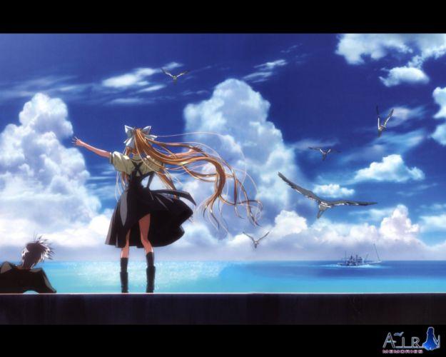 anime girl couple sky dress Air Series Visual Novel Misuzu Kamio Character Yukito Kunisaki wallpaper