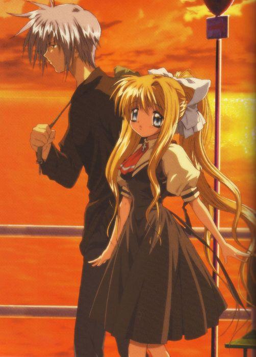 anime series air characters girl beautiful sunset couple long hair blonde wallpaper