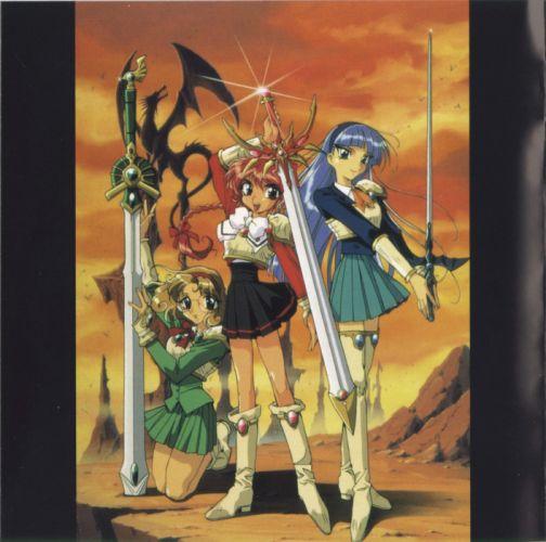anime girl beautiful dress Magic Knight Rayearth Series Characters swords wallpaper