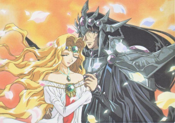 blonde anime girl dress couple love Magic Knight Rayearth Series OVA Zagato Character Emeraude wallpaper