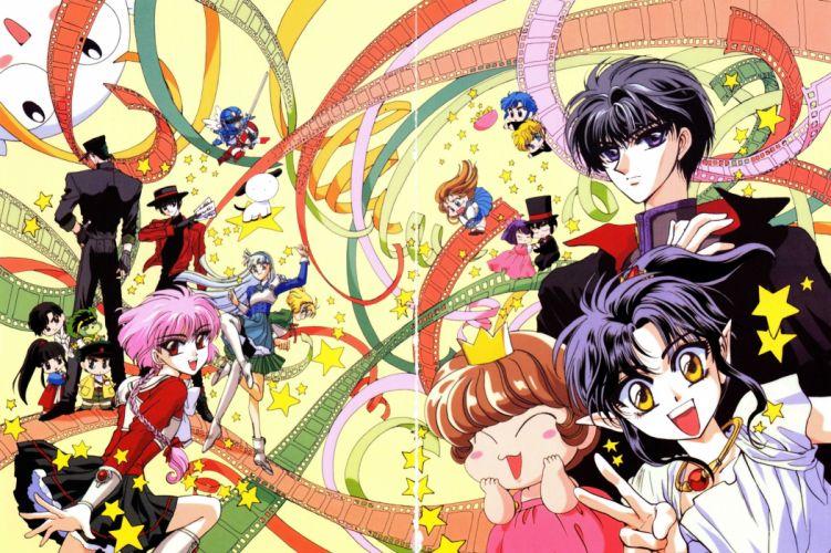 anime girl beautiful dress Magic Knight Rayearth Series Characters stars guys group wallpaper