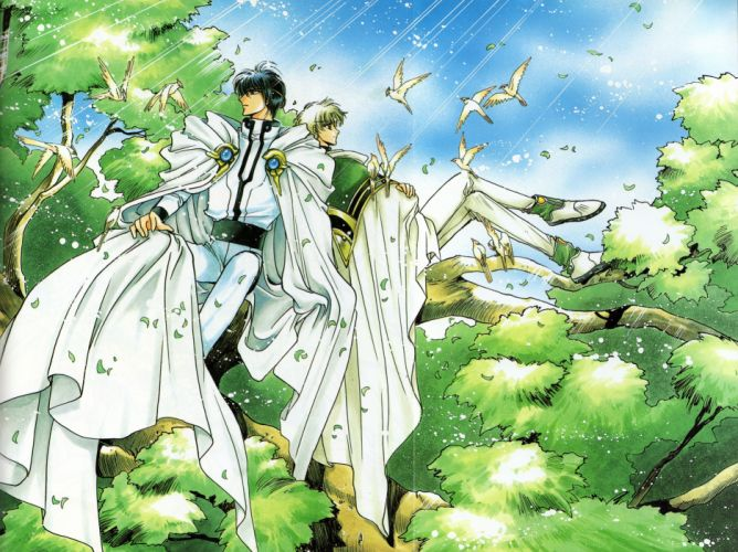 Magic Knight Rayearth Series anime males birds forest Lantis Character Eagle Vision wallpaper