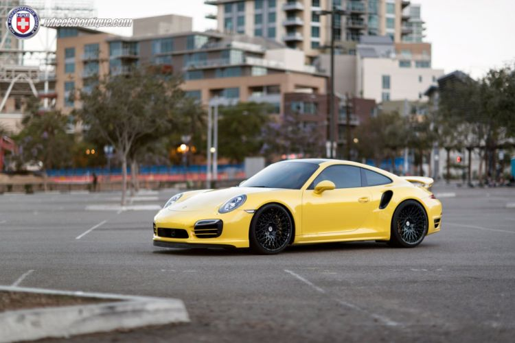 Porsche 991 Turbo S HRE wheels tuning cars coupe yellow wallpaper