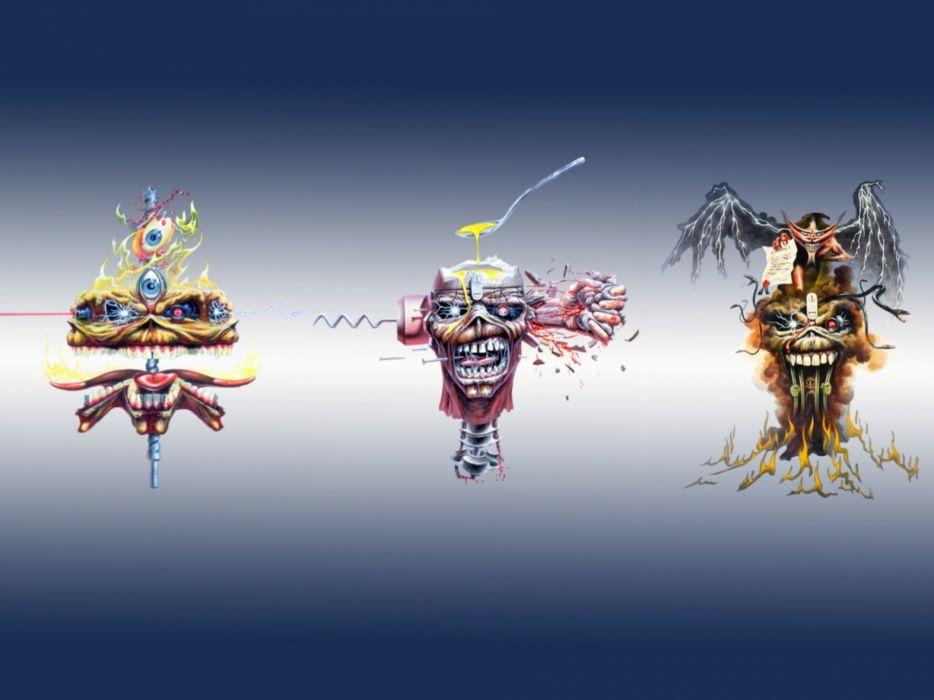 IRON MAIDEN power metal heavy artwork dark evil eddie skull blood wallpaper