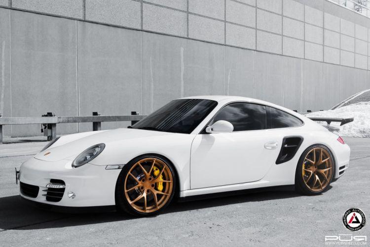 Porsche 911 997 white pur wheels cars tuning wallpaper