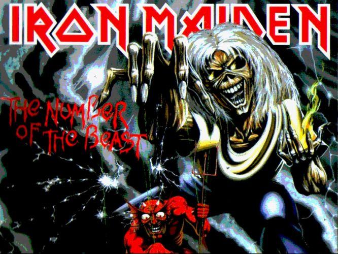 IRON MAIDEN heavy metal power artwork dark evil eddie skull poster demon satan wallpaper