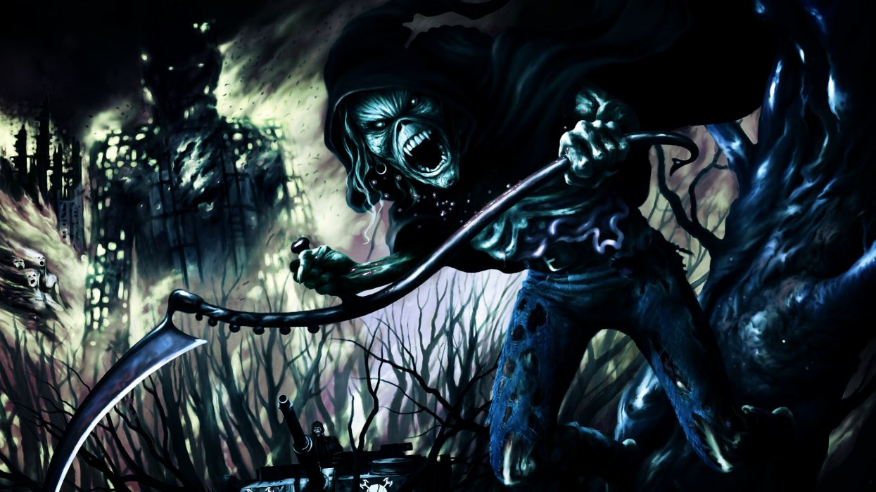 IRON MAIDEN heavy metal power artwork dark evil eddie skull poster reaper wallpaper