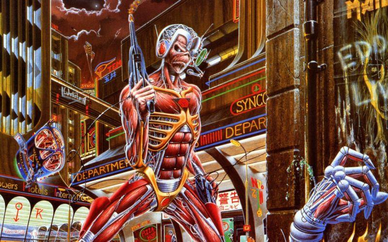 IRON MAIDEN heavy metal power artwork fantasy dark evil eddie skull demon poster sci-fi robot cyborg wallpaper