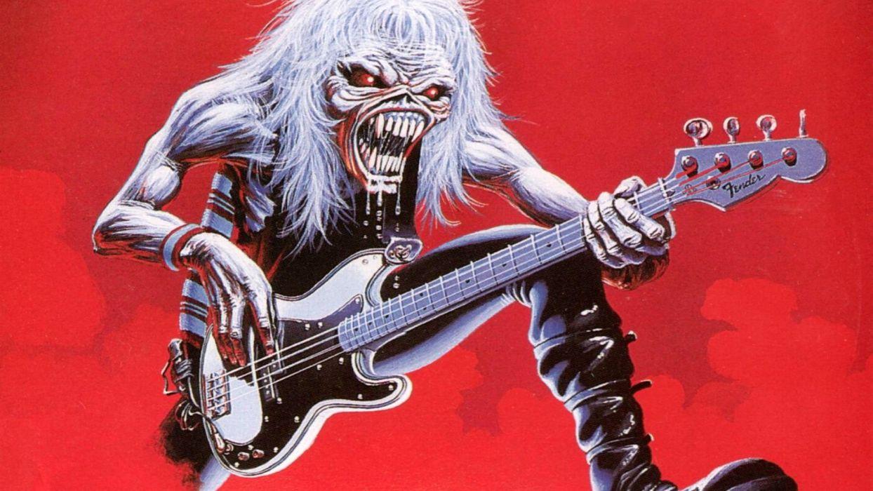 IRON MAIDEN heavy metal power artwork fantasy dark evil eddie skull demon poster guitar wallpaper