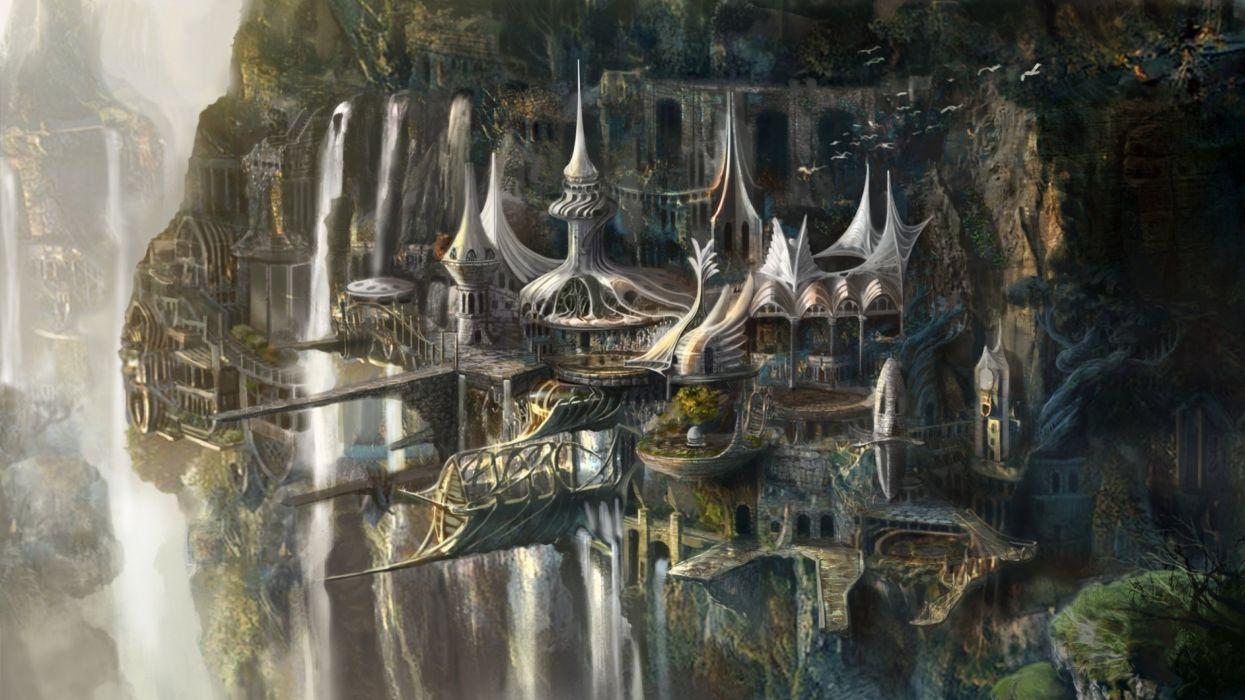 castle fantasy artwork art city cities wallpaper