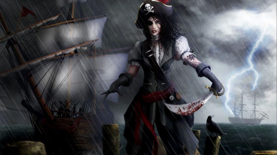 fantasy artwork art warrior women woman female pirate wallpaper