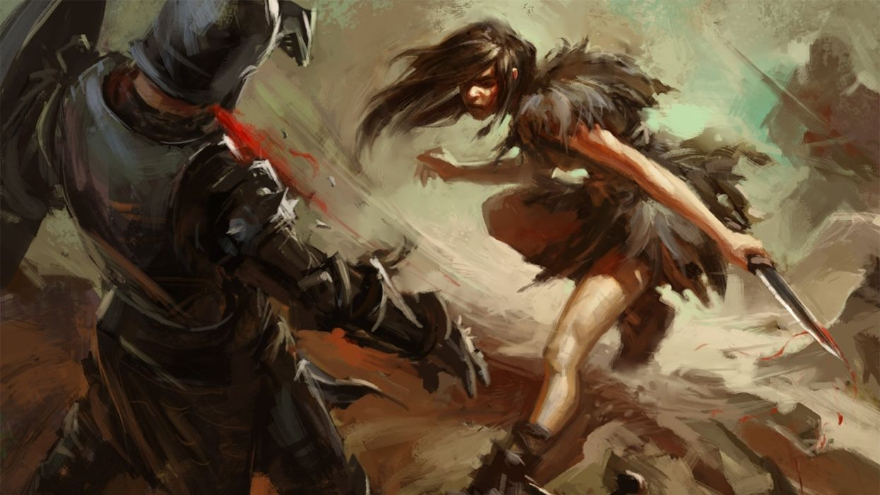 fantasy artwork art warrior women woman female battle fighting