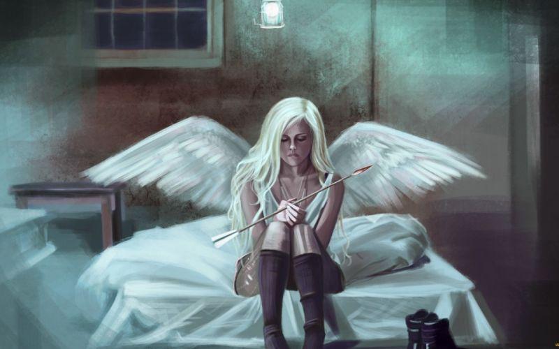 fantasy artwork art angel wings girl girls gothic mood dark wallpaper