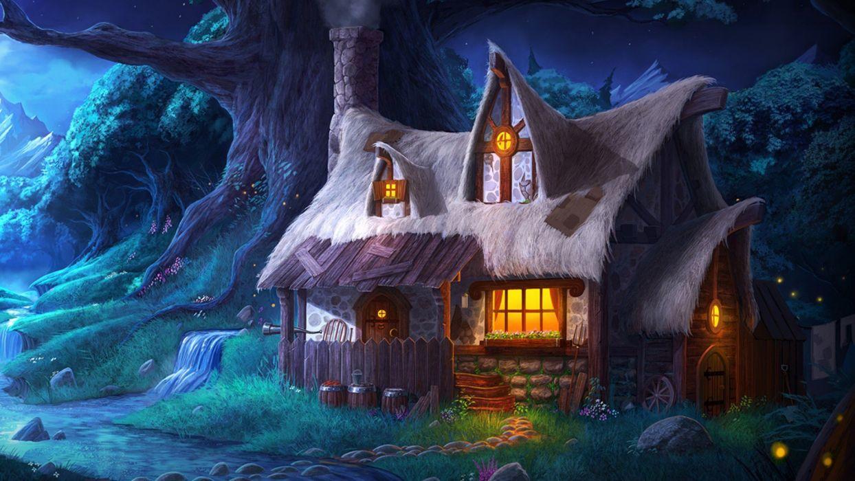 fantasy winter cabin in snow wallpaper