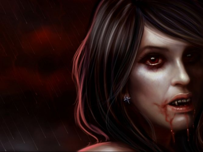 fantasy artwork art dark vampire gothic girl girls horror evil blood wallpaper