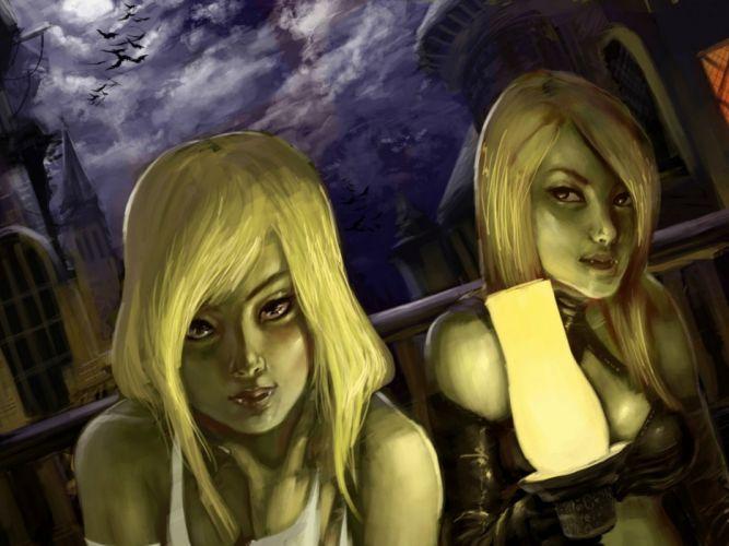 fantasy artwork art dark vampire gothic girl girls horror evil wallpaper