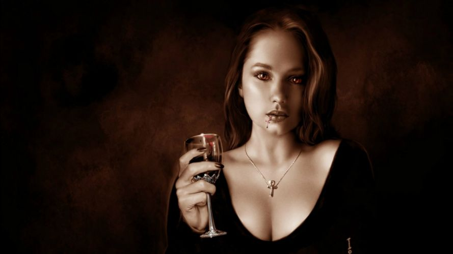 fantasy artwork art dark vampire gothic girl girls horror evil blood wallpaper