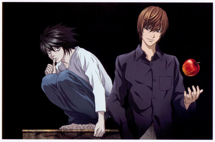 anime guys cool Death Note Series L Character Light Yagami wallpaper