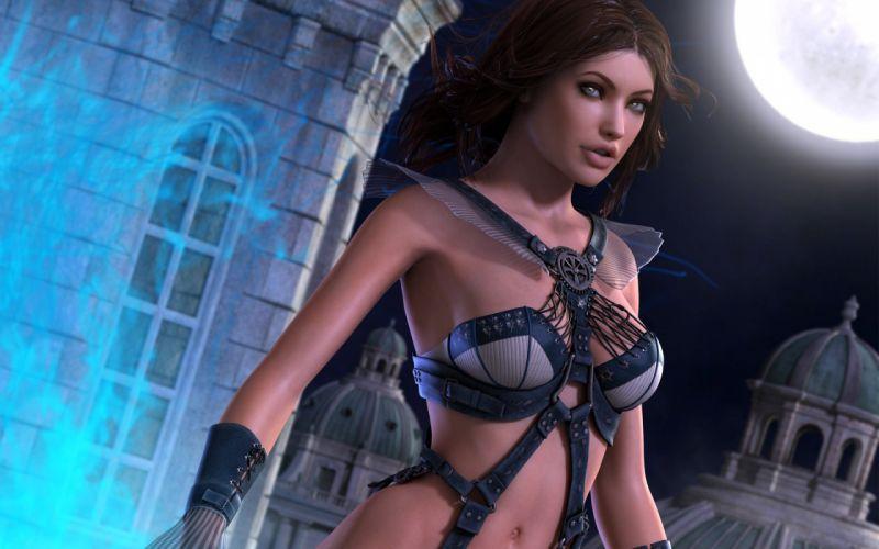 Arts 3D castle tower masonry glow night moon girls wallpaper