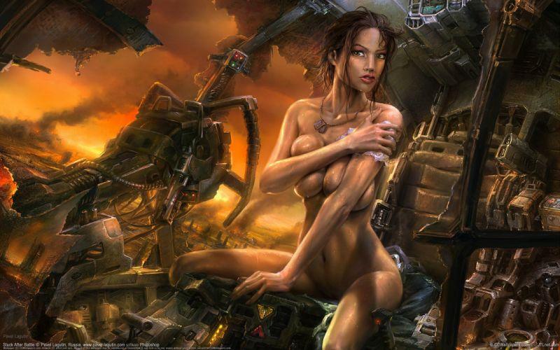 Arts 3D destruction robot women girls wallpaper
