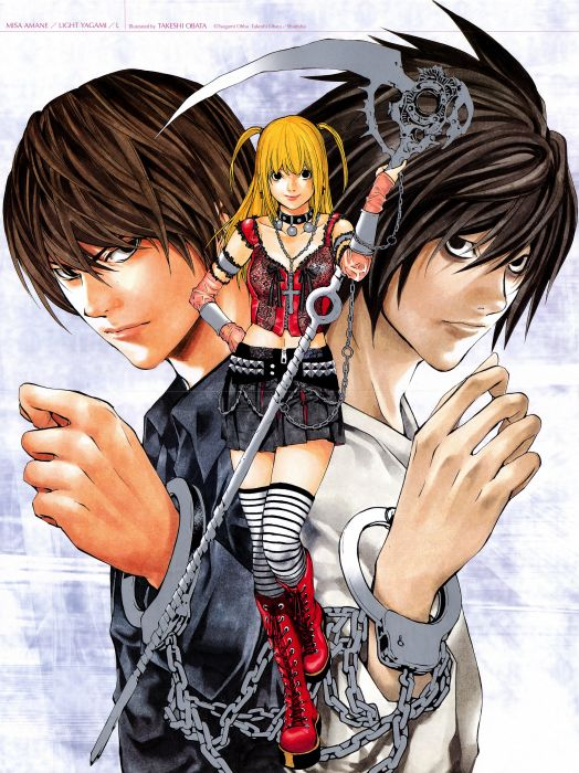 Death Note Series Light Yagami anime groupl girl guy Misa Amane Character L wallpaper