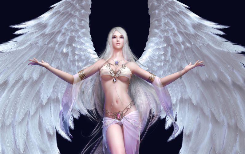 Arts angel forsaken world magic pendant wings girls wallpaper