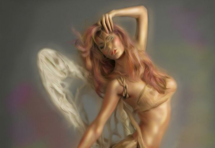 Arts angel hands hair wings body pose face girls wallpaper