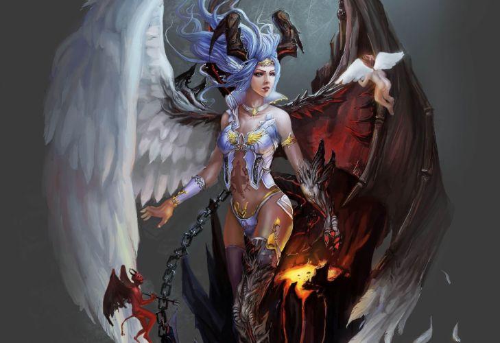 Arts angel horns chain wings angelok demon girls wallpaper