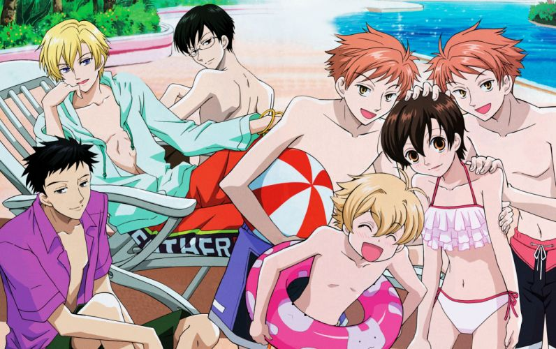 Ouran High School Host Club Series anime group girl summer wallpaper