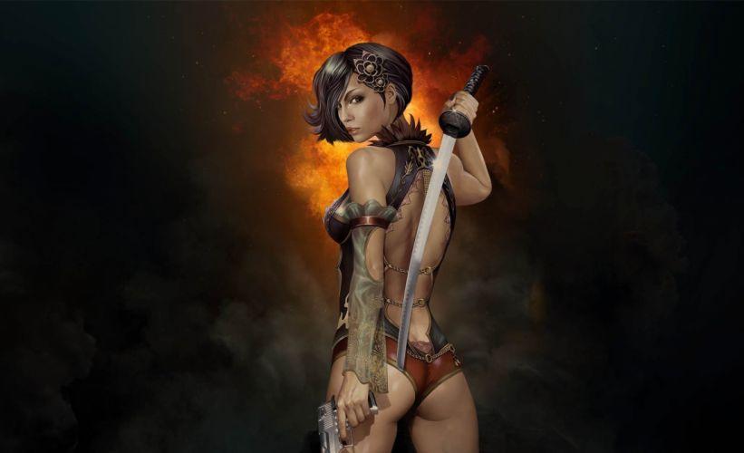 Arts blade gun sword weapons katana girls wallpaper