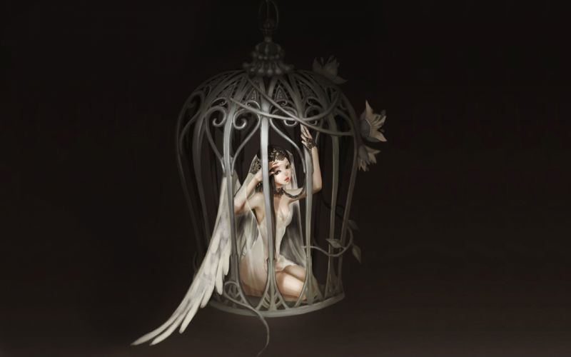Arts chain wings flowers angel cell girls wallpaper
