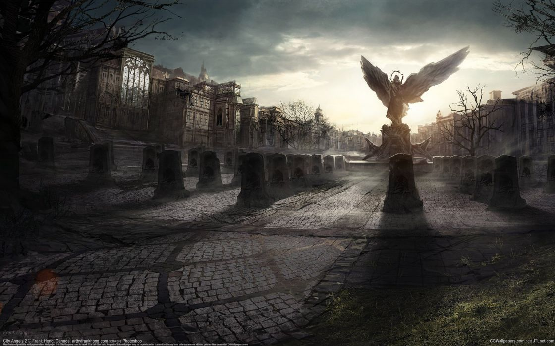 Arts city angels 2 home square monument statue plate frank hong tombstone wings wallpaper
