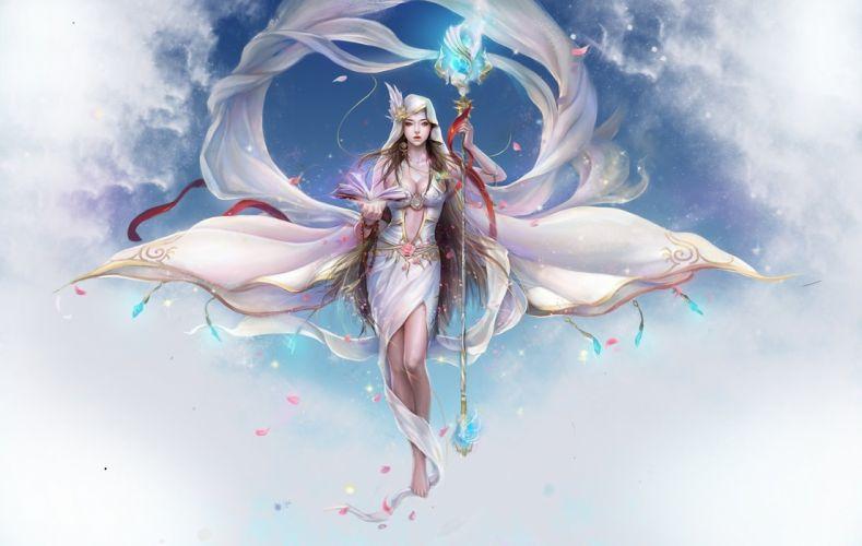 Arts clouds book staff petals funfan magic girls wallpaper
