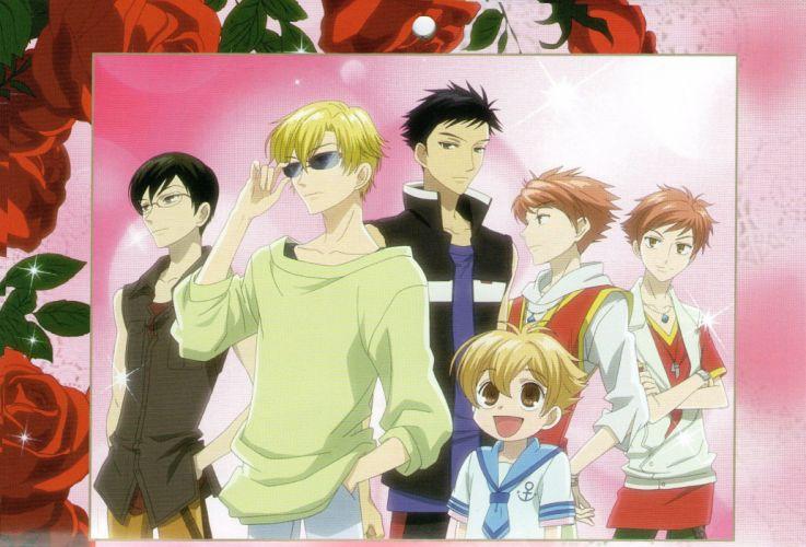 Ouran High School Host Club Series males anime group girl flower wallpaper