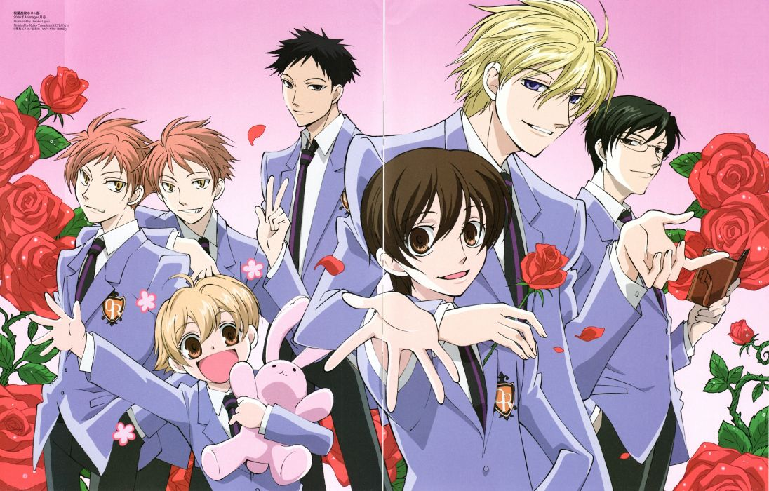 Ouran High School Host Club Series males anime group girl roses flower wallpaper