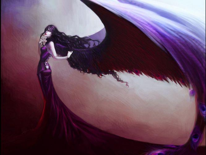 Arts dark feathers wings dress girls wallpaper